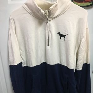"Collared ""Pink"" Blue&White Quarter Zip Sweatshirt"